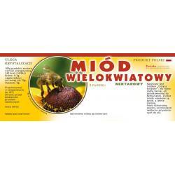 Paczka dużych etykiet na miód wielokwiatowy (100szt) - wzór E106