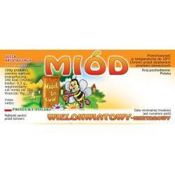 Paczka etykiet na miód wielokwiatowy (100szt) - wzór E27