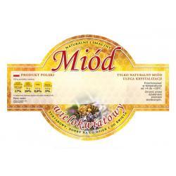 Paczka etykiet okrągłych na miód wielokwiatowy (100szt) - wzór E254