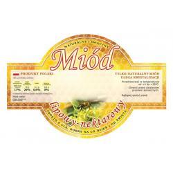 Paczka etykiet okrągłych na miód lipowy (100szt) - wzór E255