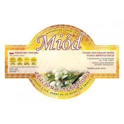 Paczka etykiet okrągłych na miód akacjowy (100szt) - wzór E256