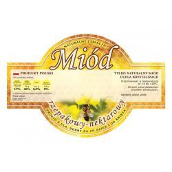 Paczka etykiet okrągłych na miód rzepakowy (100szt) - wzór E257