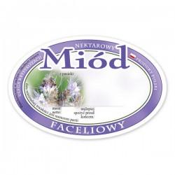 Paczka etykiet owalnych na miód faceliowy (100szt) - wzór E315