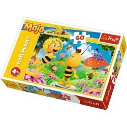 Puzzle 60 elementów. Pszczółka Maja, kwiatek dla Mai