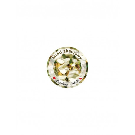 Paczka etykiet na pokrywkę słoiczka mini Ø 37 mm (miód akacjokwiatowy)